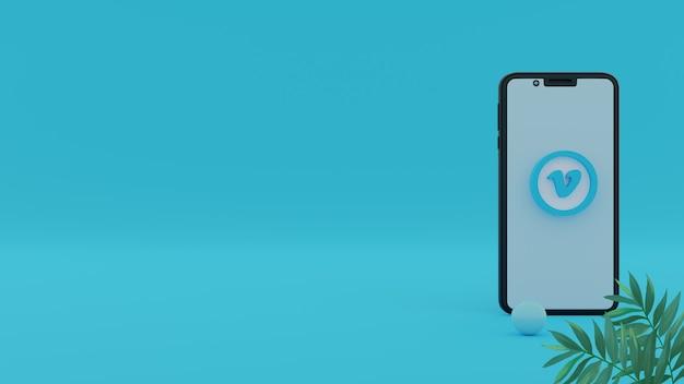 3d vimeo-logo mit smartphone