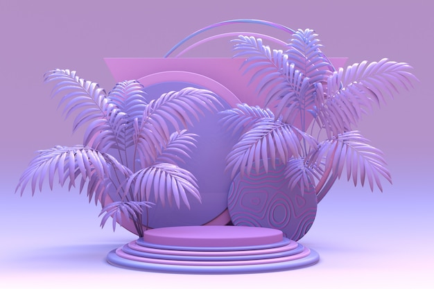 3d-violett-pastellpodium für werbekompositionen geometrischer objekte mit abstrakter tropischer palme