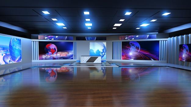 3d virtual news studio hintergrund 3d-darstellung