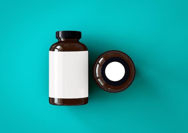 3d-vitaminflasche auf blauem toscha-hintergrund isoliert. passend für ihr gestaltungselement.