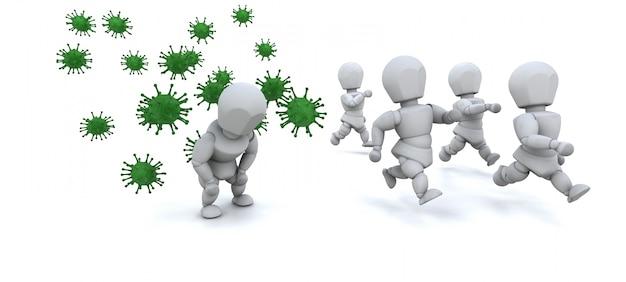 3d von bakterien umgeben von männern machen