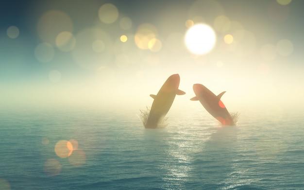 3d wale springen aus dem meer