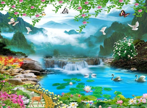 3d wandbild bunte landschaftsblumen zweige mehrfarbig mit bäumen und seewasser wasserfall