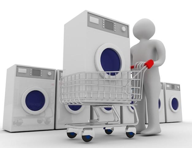 3d-waschmaschinen-konzept. 3d gerenderte darstellung