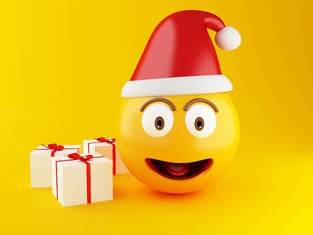 3d weihnachten emoji mit geschenkbox.