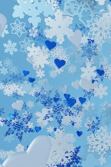 3d-weihnachten fliegende schneeflocken und eisherzen kreatives wintermodell für neujahrsfeiertagsdesign