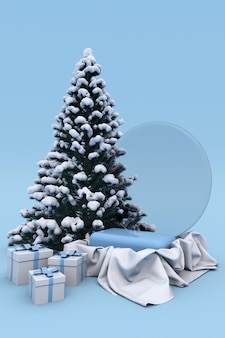 3d weihnachten neujahr urlaub blau podest für produkthintergrund mit schneebedeckten weihnachtsbaum, bälle, geschenkbox. winterkonzept für vertikales poster, banner, mockup.