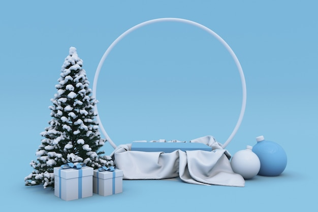 3d weihnachten neujahr urlaub blaues podium mit weihnachtsbaumkugeln stehen bogen winterkonzept