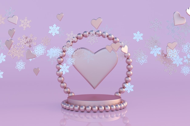 3d-weihnachten und neujahr rosa studiopodium mit perlenbogen-herzform und fliegenden schneeflocken