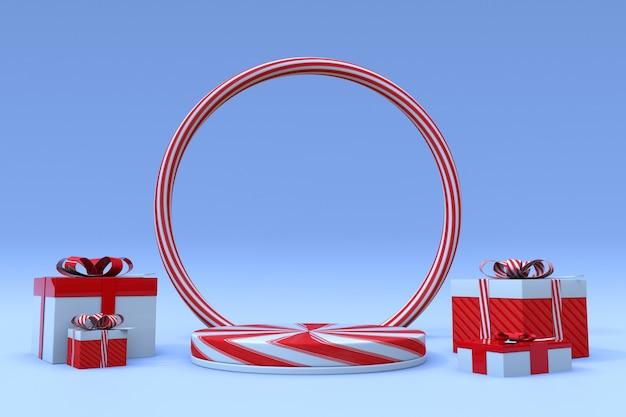 3d-weihnachtshintergrund und rotes süßigkeitspodest mit geschenkbox und rundbogen-frohes neues jahr-sockel