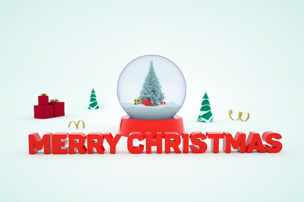 3d-weihnachtsillustration rote 3d-inschrift frohe weihnachten auf einem weißen, isolierten hintergrund