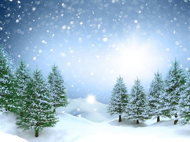 3d weihnachtslandschaftshintergrund mit fallendem schnee
