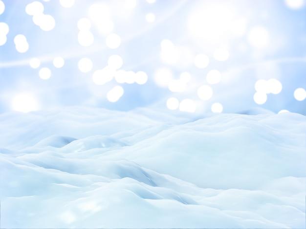 3d weihnachtsschneelandschaftshintergrund
