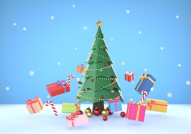 3d weihnachtsszenenhintergrund mit float-geschenkbox
