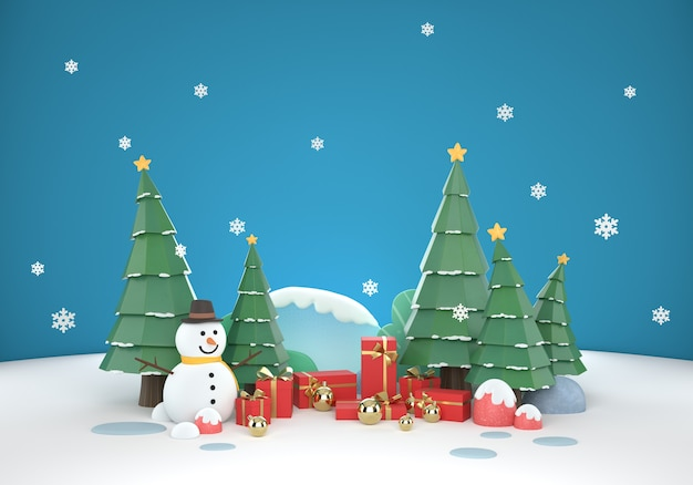 3d weihnachtsszenenhintergrund mit geschenkbox