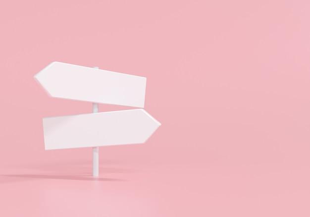 3d-weiss-wegweiser auf rosa hintergrund. 3d-render-darstellung