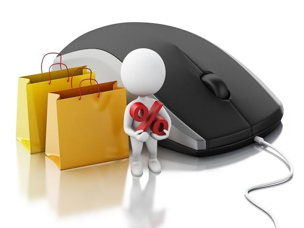 3d weiße leute mit computermaus. e-commerce-konzept