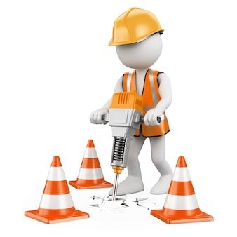 3d weißer arbeiter mit einem presslufthammer