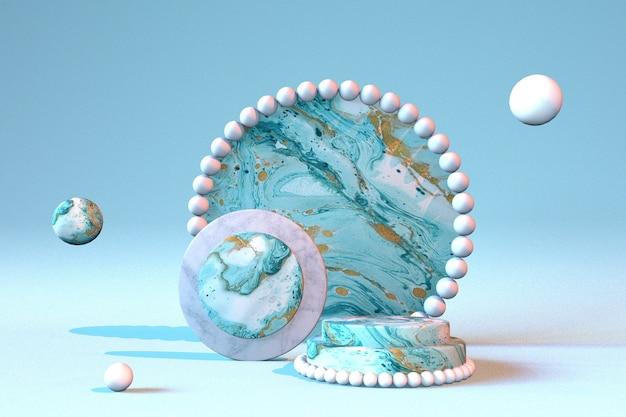 3d weißer blauer sockel podium marmoreffekt helles display für schönheitskosmetikprodukte cosmetic