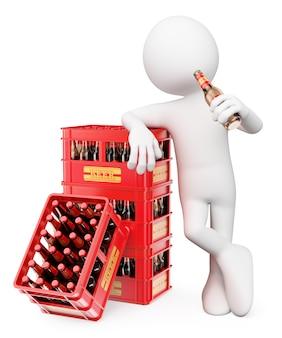 3d weißer charakter. mann, der eine flasche bier trinkt