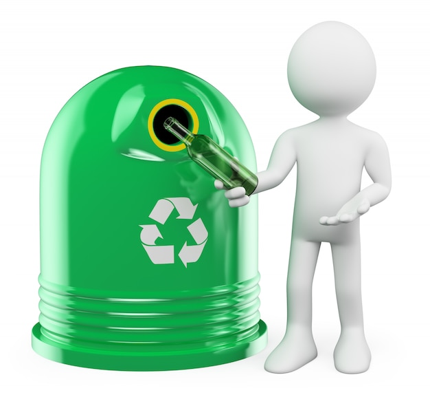3d weißer charakter. recycling-glasbehälter
