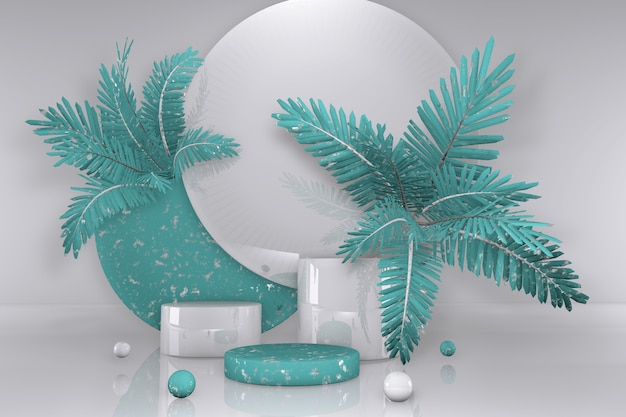 3d weißer und grüner abstrakter geometrischer sockel. minimales design des summer vibes podiums mit tropischen palmen.