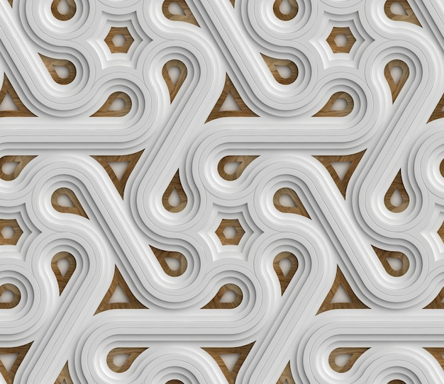 3d weißes futuristisches nahtloses muster bestehend aus endlosem gürtel mit holzelementen.