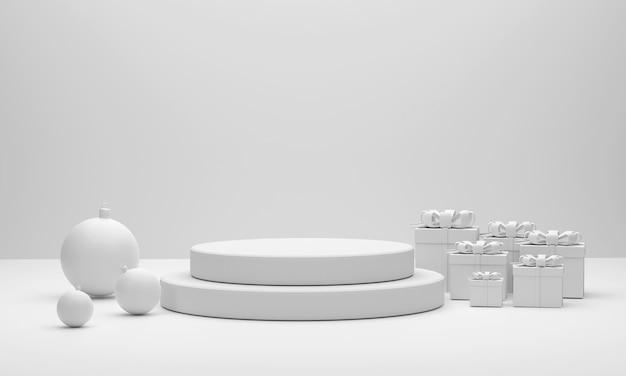 3d weißes podium weihnachtskugeln und geschenkboxen für showprodukt auf dem weihnachtsfest