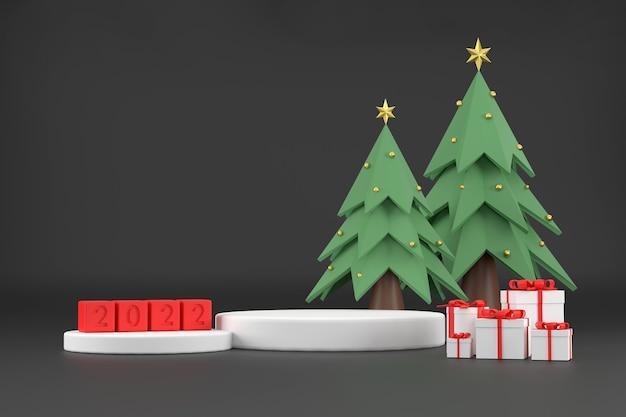 3d. weißes podium zur präsentation von produkten für 2020 und weihnachtsbäume. mit geschenkbox