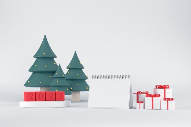 3d. weißes podium zur präsentation von produkten für den kalender 2020 und weihnachtsbäume. mit geschenkbox