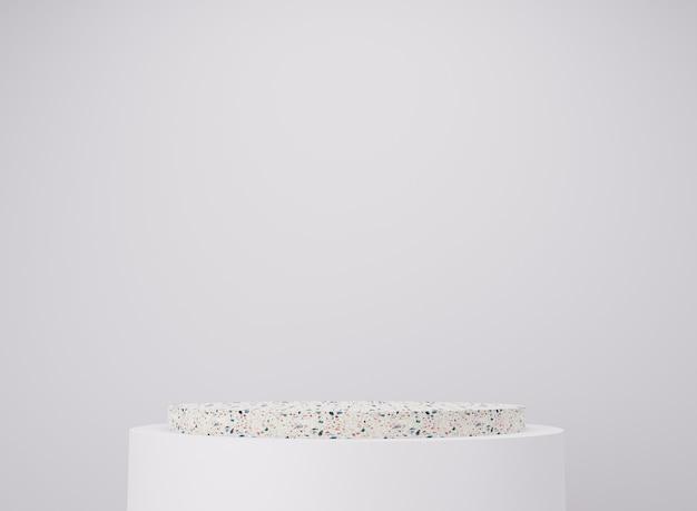 3d weißes steinpodestmuster auf weißem hintergrund. minimaler abstrakter mockup-hintergrund für die produktpräsentation