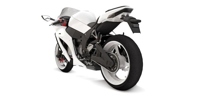 3d weißes supersportmotorrad auf weißem lokalisiertem hintergrund. 3d-darstellung.