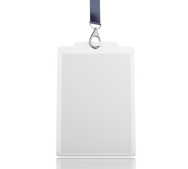 3d white leere kunststoff-id-abzeichen mit lanyard