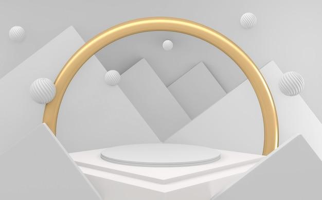3d white luxury abstract goldenes podium minimal geometrisch weiß und gold stil abstrakt