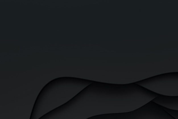 3d-wiedergabe, abstraktes schwarzes papierschnittkunst-hintergrunddesign für website-vorlage oder präsentationsschablone, schwarzer hintergrund