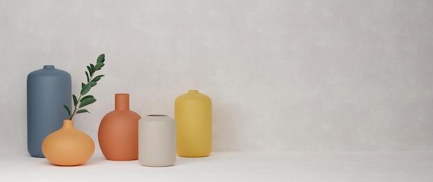 3d-wiedergabe bunte nach hause verzierte keramikvasen und topf auf weißem hintergrund mit kopienraum-3d-illustration