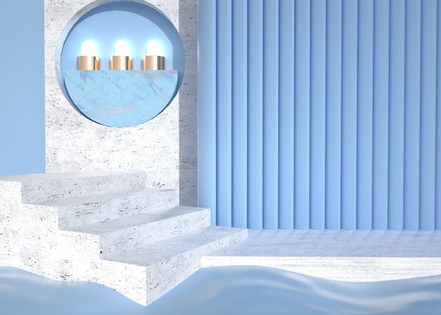 3d-wiedergabe der abstrakten bühne mit marmortreppe für produktanzeige