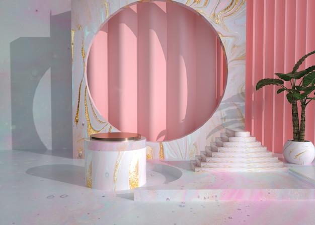 3d-wiedergabe der abstrakten geometrischen bühne mit podium für produktanzeige