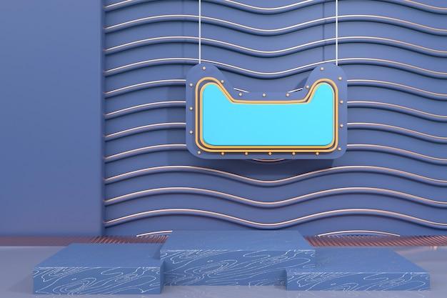 3d-wiedergabe der abstrakten geometrischen bühne mit tafel für modellanzeige