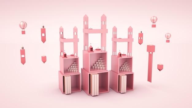 3d-wiedergabe der abstrakten geometrischen form auf rosa hintergrund für produktanzeige