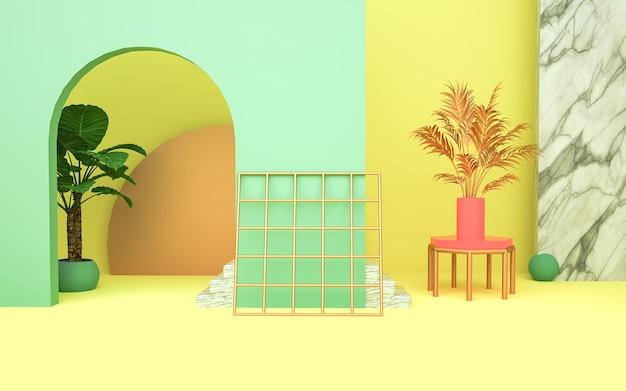 3d-wiedergabe der abstrakten geometrischen form für produktanzeige