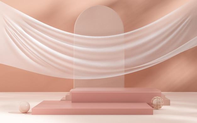 3d-wiedergabe der abstrakten geometrischen hintergrundszene mit weißem stoff für produktanzeige