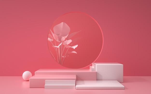 3d-wiedergabe der abstrakten rosa geometrischen hintergrundszene mit podium und pflanzen für produktanzeige