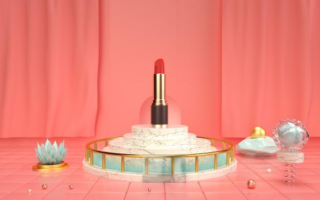 3d-wiedergabe der geometrischen zusammenfassung mit lippenstift auf dem marmorpodest für modellanzeige