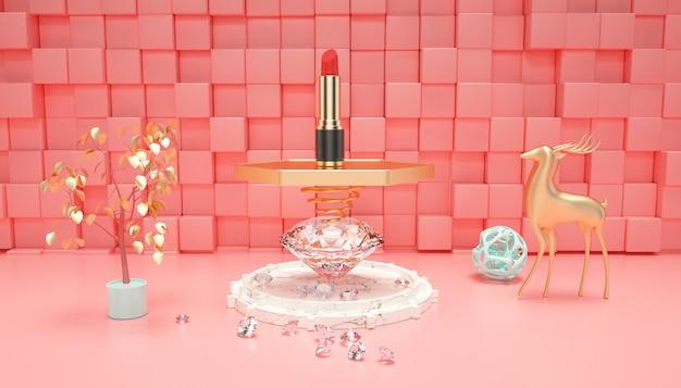 3d-wiedergabe der geometrischen zusammenfassung mit lippenstift auf dem tisch für modellanzeige