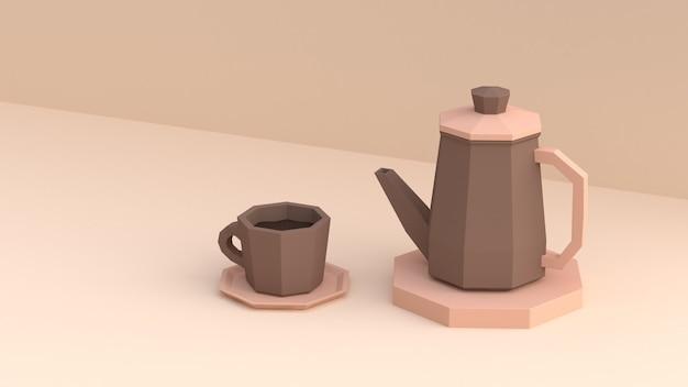 3d wiedergabe der kaffeetasse- und kaffeetopfniedrigen polykarikaturart 3d