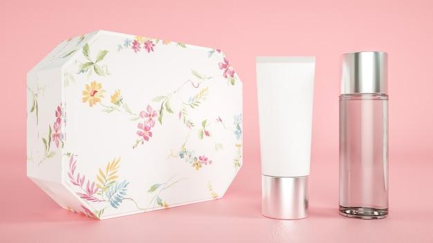 3d-wiedergabe der kosmetikcremeflaschenverpackung mit rosa hintergrund für produktanzeige