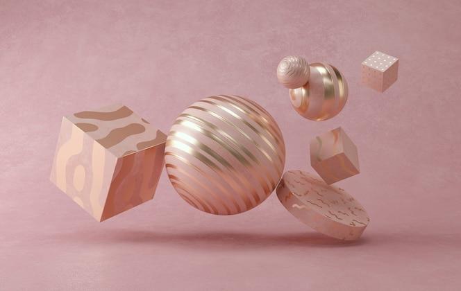 3d-wiedergabe der minimalen kugel des abstrakten pastells.