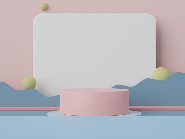 3d-wiedergabe der minimalen pastell-szene des leeren podiums mit erdtönen-thema