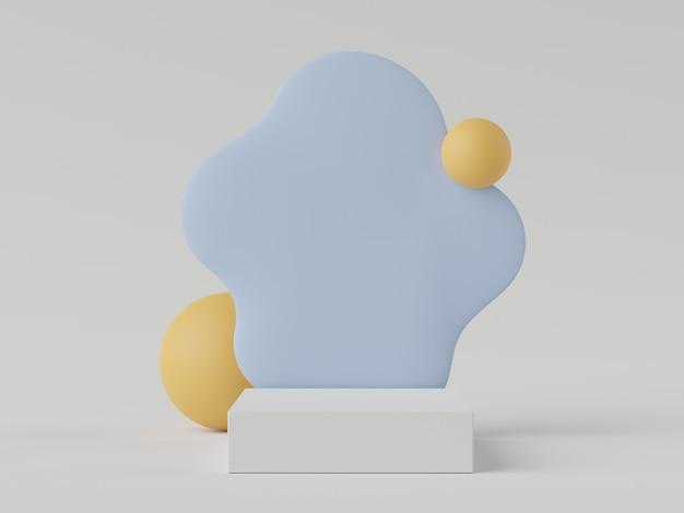 3d-wiedergabe der minimalen pastell-szene des weißen leeren podiums mit erdtönen-thema. gedämpfte gesättigte farbe. einfaches geometrisches formdesign. modernes display zur produktpräsentation.